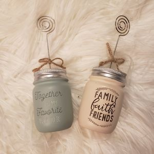 Mason Jar Photo Frame Holders